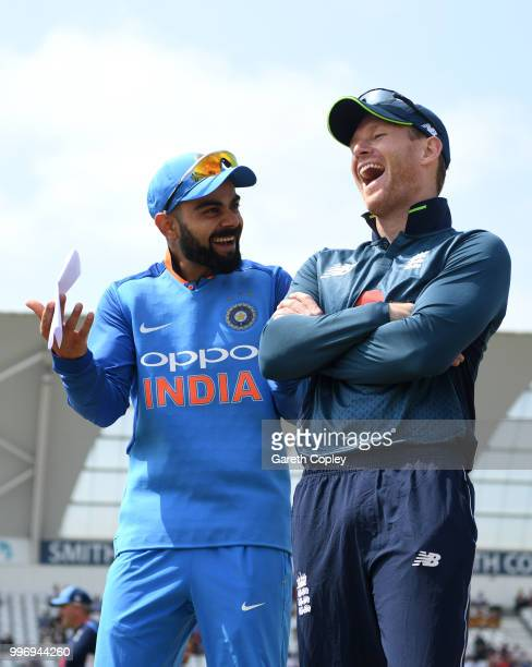 England captain Eoin Morgan shares a joke with India captain Virat Kohli ahead of the Royal London One-Day match between England and India at Trent...