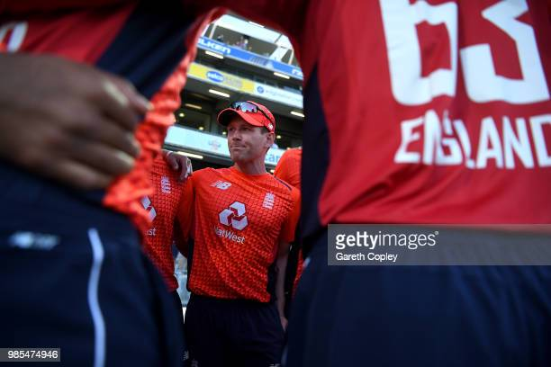 England captain Eoin Morgan speaks to his team during the Vitality International T20 between England and Australia at Edgbaston on June 27 2018 in...