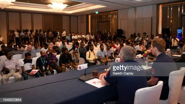 England captain Eoin Morgan speaks to the media alongside coach Trevor Bayliss during the ODI Series Launch press conference at the team hotel on...