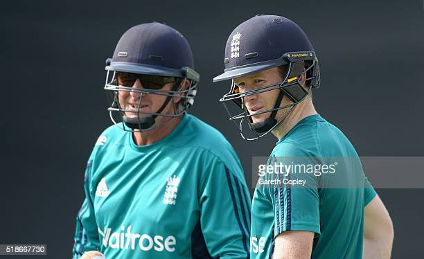 England captain Eoin Morgan speaks with coach Trevor Bayliss during a nets session ahead of tomorrrow's ICC World Twenty20 India 2016 Final between...