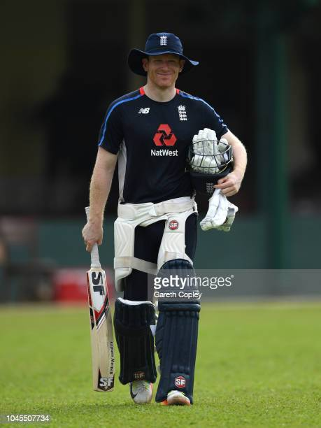 England captain Eoin Morgan walks to the nets during a nets session at P Sara Oval on October 4 2018 in Colombo