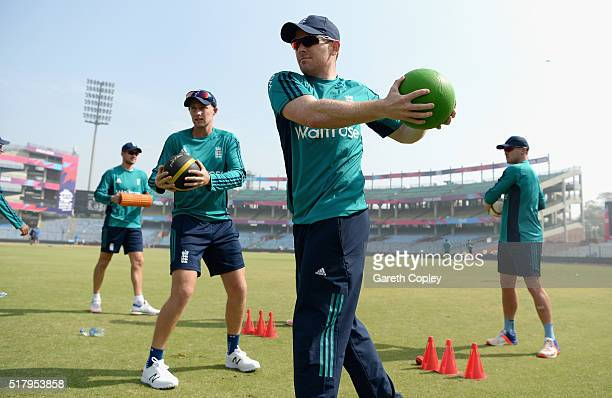 England captain Eoin Morgan warms up during a nets session at Feroz Shah Kotla Stadium on March 29 2016 in Delhi India
