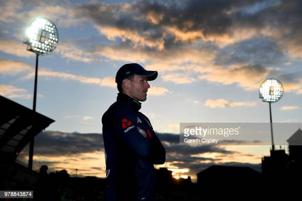 England captain Eoin Morgan watches the post match presentations after winning the 3rd Royal London ODI match between England and Australia at Trent...