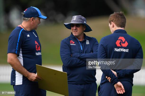 England captain Eoin Morgan with coach Trevor Bayliss and bowling caoch Chris Silverwood during England Cricket nets at the Basin Reserve ahead of...