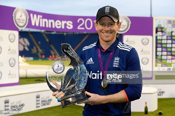 England captain Eoin Morgan with the series trophy after their 41 victory after the 5th One Day International between England and Pakistan at Swalec...
