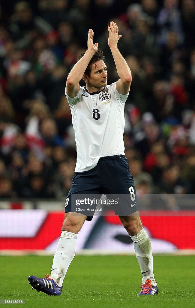 England captain Frank Lampard acknowledges the crowd as his is substituted during the international friendly match between England and Chile at Wembley Stadium on November 15, 2013 in London, England.
