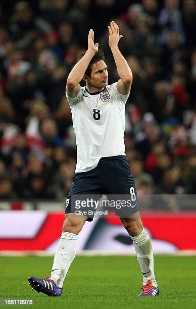 England captain Frank Lampard acknowledges the crowd as his is substituted during the international friendly match between England and Chile at...