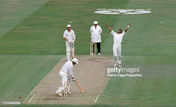 England captain Graham Gooch is bowled for 42 runs by Waqar Younis of Pakistan during the 3rd Texaco Trophy One Day International between England and...