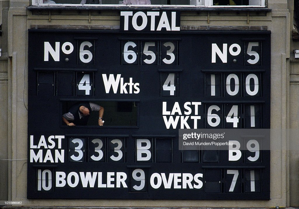 England captain Graham Gooch is out for a record 333 runs and England declare on 653 for 4 with Robin Smith not out on 100 on the second day of the 1st Test Match between England and India at Lord's Cricket Ground in London, 27th July 1990. England won by 247 runs.