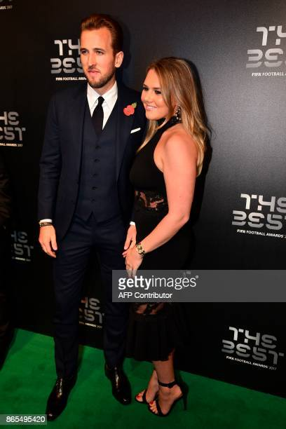 England captain Harry Kane and partner Katie Goodland pose for a photograph as they arrive for The Best FIFA Football Awards ceremony on October 23...