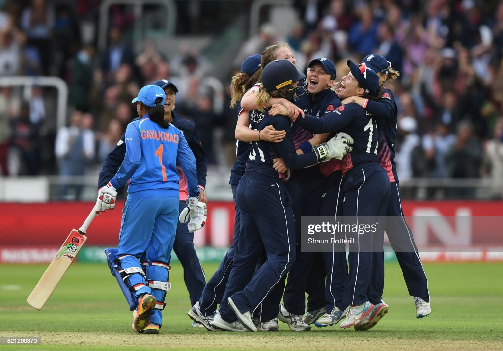 England captain Heather Knight and team-mates celebrate after taking the final India wicket of Rajeshwari Gayakwad to win the ICC Women's World Cup 2017 Final between England and India at Lord's Cricket Ground on July 23, 2017 in London, England.
