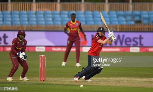 England captain Heather Knight bats during the 1st Vitality IT20 between England Women v West Indies Women at the Incora County Ground on September...