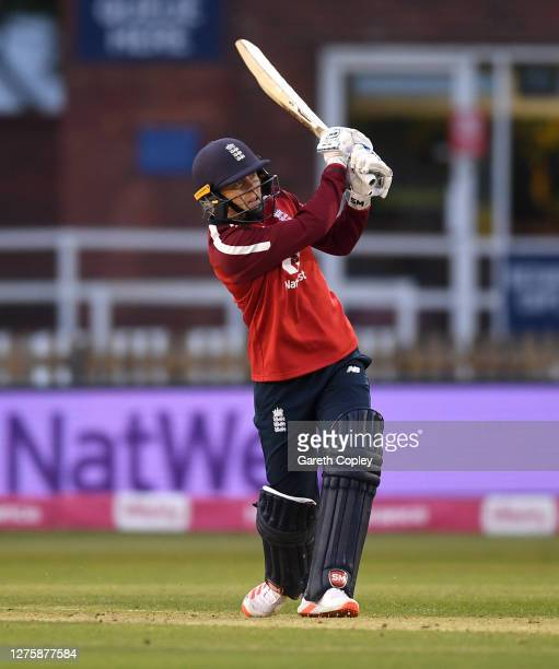 England captain Heather Knight bats during the 2nd Vitality IT20 between England Women v West Indies Women at the Incora County Ground on September...