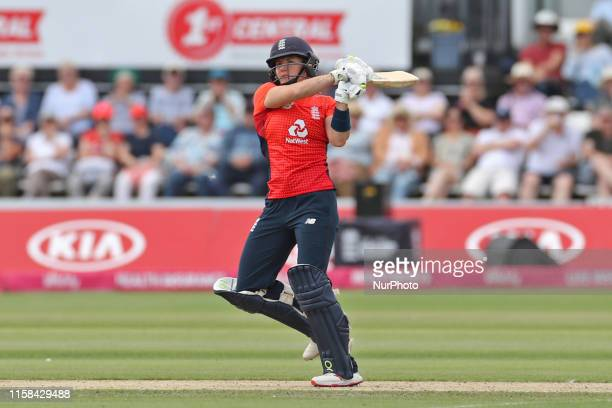England captain Heather Knight batting during the Ashes match between England and Australia at 1st Central County Ground Hove on Sunday 28th July 2019
