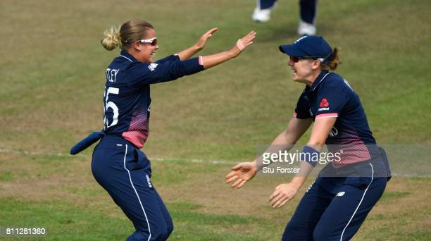 England captain Heather Knight celebrates with Alex Hartley after Hartley had dismissed Alex Hartley during the ICC Women's World Cup 2017 match...