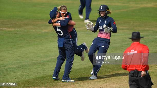 England captain Heather Knight celebrates with Alex Hartley after Hartley had dismissed Meg Lanning during the ICC Women's World Cup 2017 match...