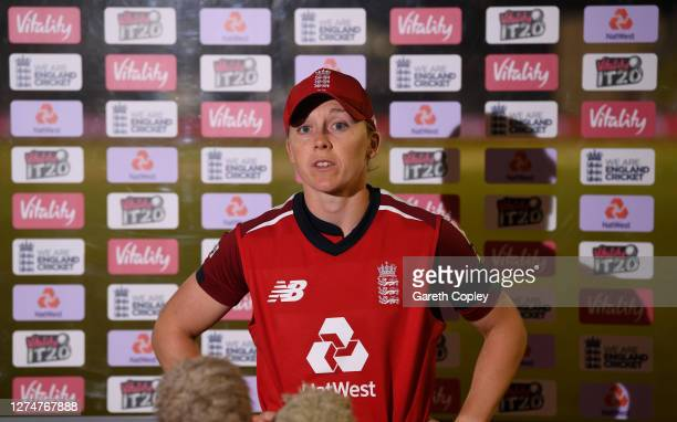 England captain Heather Knight is interviewed after the 1st Vitality IT20 between England Women v West Indies Women at the Incora County Ground on...