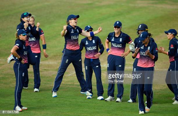 England captain Heather Knight jumps with joy after Australia batsman Healy is given out after review during the ICC Women's World Cup 2017 match...