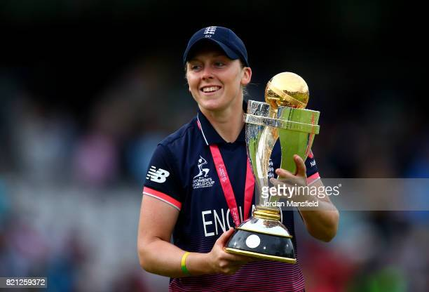 England Captain Heather Knight lifts the trophy after victory in the ICC Women's World Cup 2017 Final between England and India at Lord's Cricket...