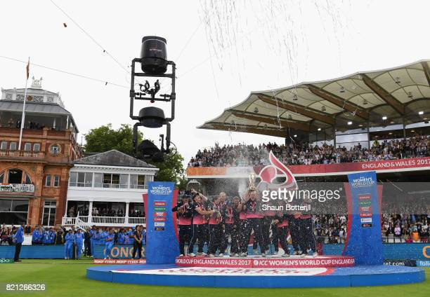 England captain Heather Knight lifts the trophy after winning the ICC Women's World Cup 2017 Final between England and India at Lord's Cricket Ground...