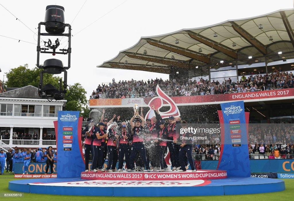 England captain Heather Knight lifts the trophy after winning the ICC Women's World Cup 2017 Final between England and India at Lord's Cricket Ground on July 23, 2017 in London, England.