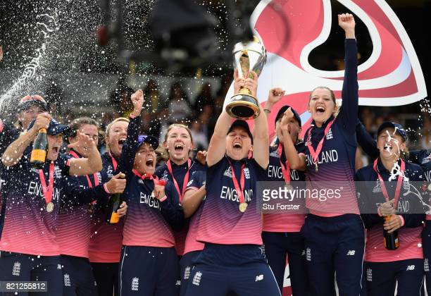 England captain Heather Knight lifts the World Cup after the ICC Women's World Cup 2017 Final between England and India at Lord's Cricket Ground on...
