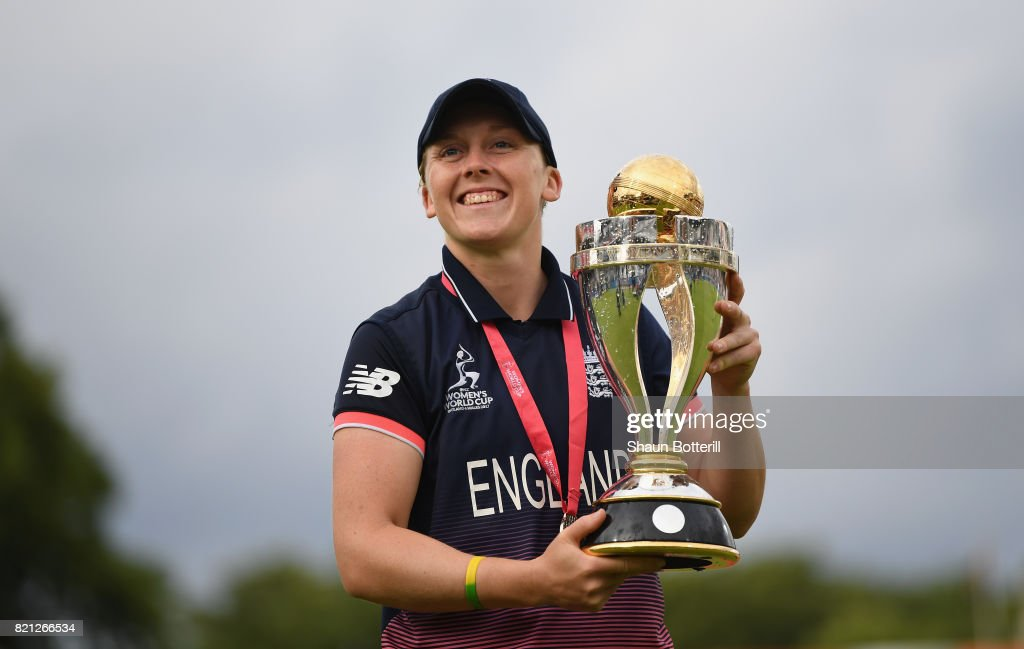 England captain Heather Knight poses with the trophy after winning the ICC Women's World Cup 2017 Final between England and India at Lord's Cricket Ground on July 23, 2017 in London, England.