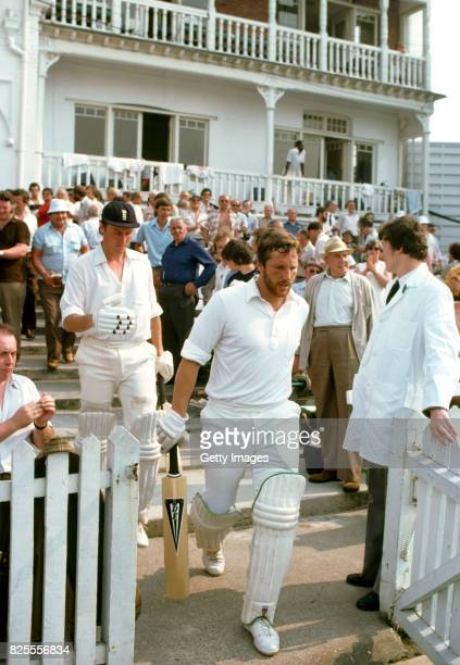 England captain Ian Botham and Bob Woolmer come out to bat after tea during the 1st Test match against the West Indies at Trent Bridge on June 5 1980...