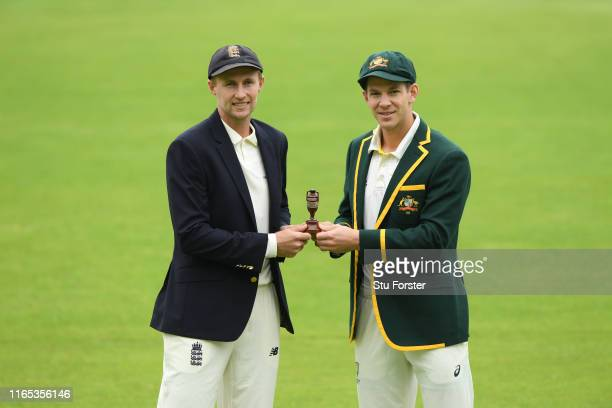 England captain Joe Root and Australia captain Tim Paine pictured holding the urn ahead of the First Ashes Test Match against Australia at Edgbaston...