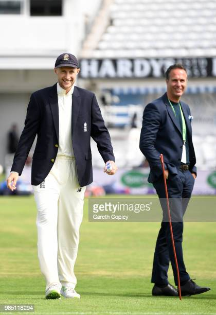 England captain Joe Root and former English cricketer Michael Vaughan look on ahead of play on day one of the 2nd test between England and Pakistan...