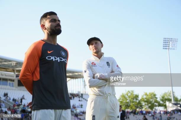 England captain Joe Root and India captain Virat Kohli after the 4th Specsavers Test Match between England and India at The Ageas Bowl on September 2...