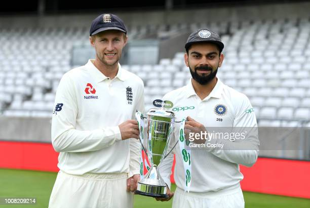 England captain Joe Root and India captain Virat Kohli hold the series trophy at Edgbaston on July 31 2018 in Birmingham England