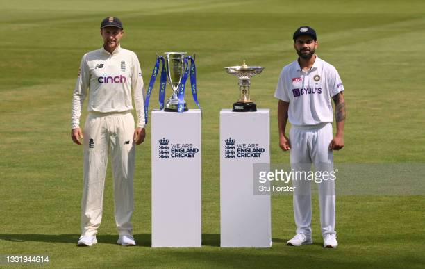 England captain Joe Root and India captain Virat Kohli with the series trophies ahead of the First Test Match between England and India at Trent...