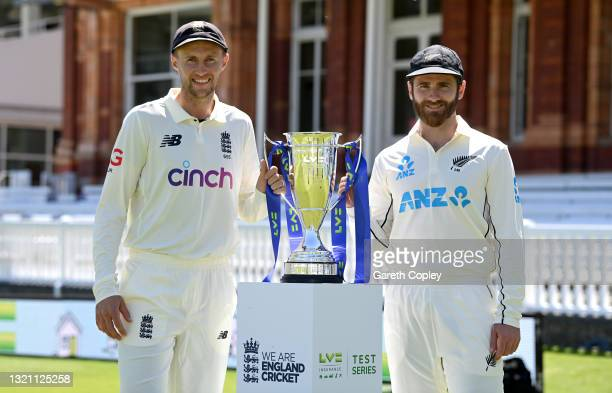 England captain Joe Root and New Zealand captain Kane Williamson pose with series trophy at Lord's Cricket Ground on June 01, 2021 in London, England.