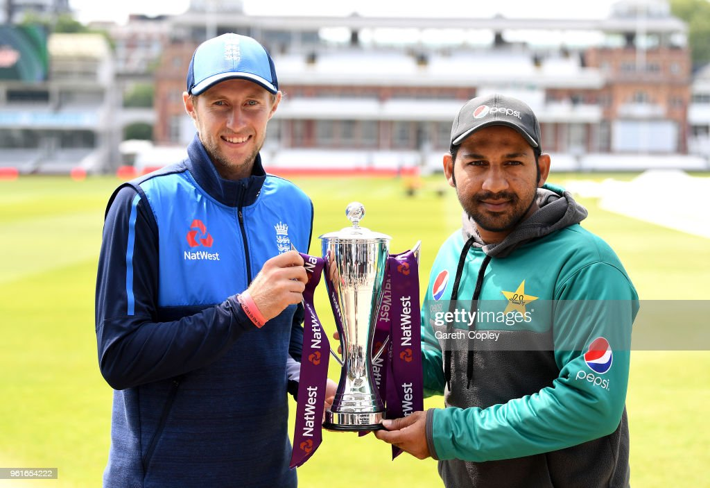 England captain Joe Root and Pakistan captain Sarfraz Ahmed hold the NatWest series trophy at Lord's Cricket Ground on May 23, 2018 in London, England.