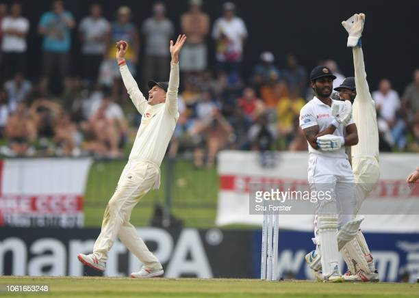 England captain Joe Root appeals for a catch during Day Two of the Second Test match between Sri Lanka and England at Pallekele Cricket Stadium on...