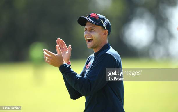 England captain Joe Root applauds during the tour's opening practice session at Willowmore Park during the England Media Access on December 15 2019...