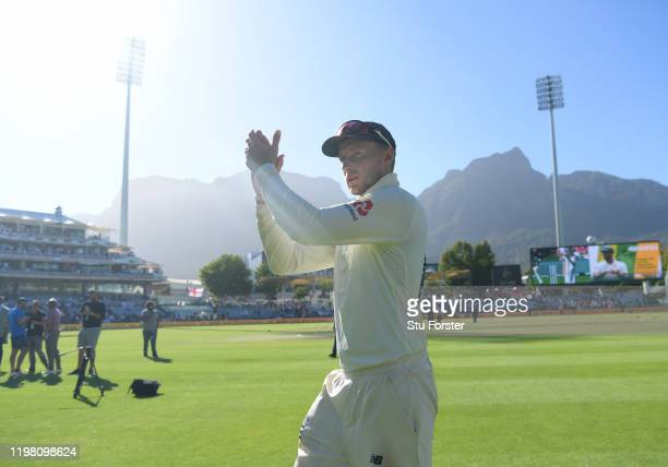 England captain Joe Root applauds the England fans after Day Five of the Second Test between South Africa and England at Newlands on January 07, 2020...