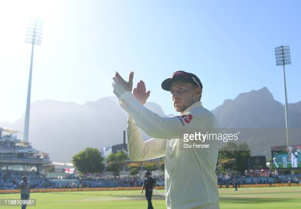 England captain Joe Root applauds the England fans after Day Five of the Second Test between South Africa and England at Newlands on January 07 2020...