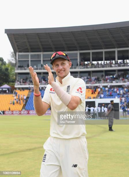 England captain Joe Root applauds the fans after victory in the match and a 20 lead in the series during Day Five of the Second Test match between...