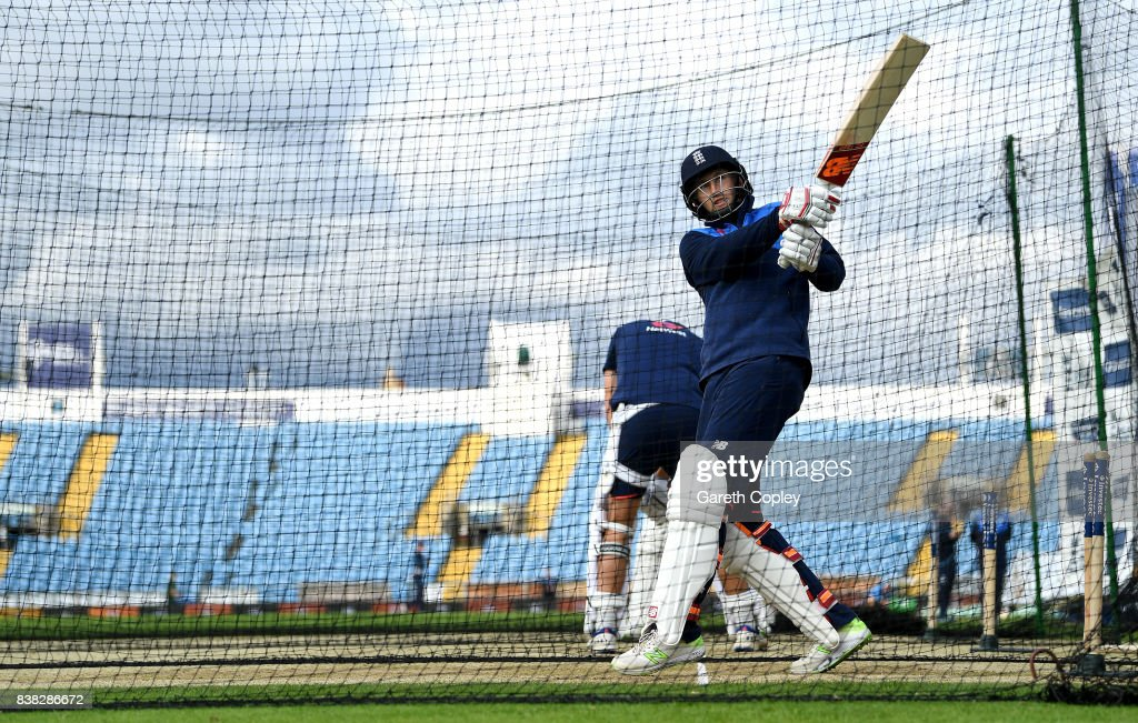 England captain Joe Root bats during a nets session at Headingley on August 24, 2017 in Leeds, England.