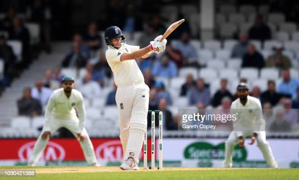England captain Joe Root bats during day four of the Specsavers 5th Test match between England and India at The Kia Oval on September 10 2018 in...