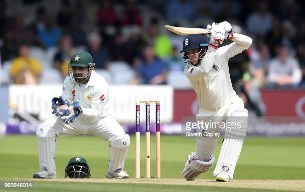 England captain Joe Root bats during day three of the 1st NatWest Test match between England and Pakistan at Lord's Cricket Ground on May 26 2018 in...