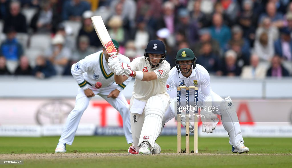 England captain Joe Root bats during day three of the 4th Investec Test match between England and South Africa at Old Trafford on August 6, 2017 in Manchester, England.