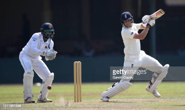 England captain Joe Root bats during the tour match between SLC Board President's XI and England at P Sara Oval on March 12, 2020 in Colombo, Sri...