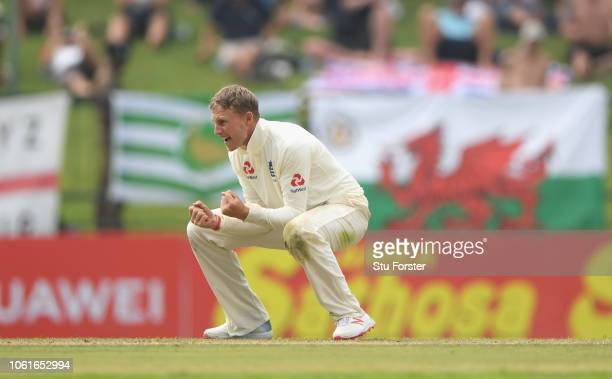 England captain Joe Root celebrates after dismissing Sri Lanka batsman Dickwella during Day Two of the Second Test match between Sri Lanka and...