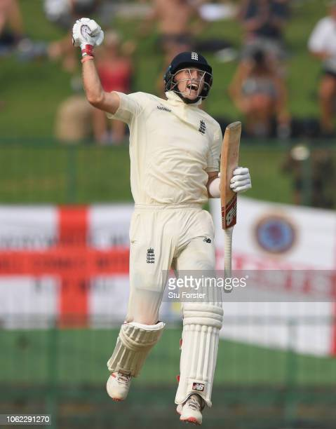 England captain Joe Root celebrates after reaching his century during Day Three of the Second Test match between Sri Lanka and England at Pallekele...