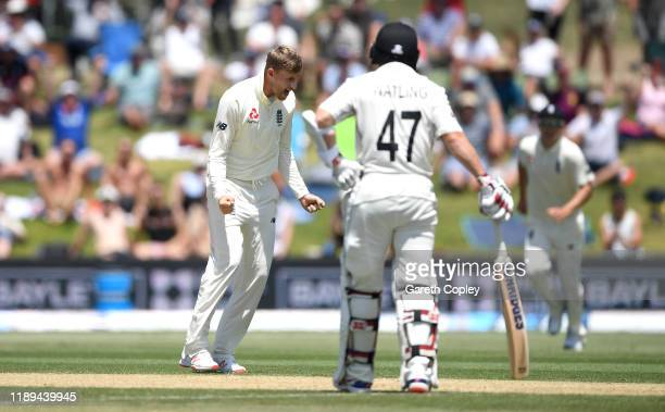 England captain Joe Root celebrates dismissing Henry Nicholls of New Zealand during day three of the first Test match between New Zealand and England...
