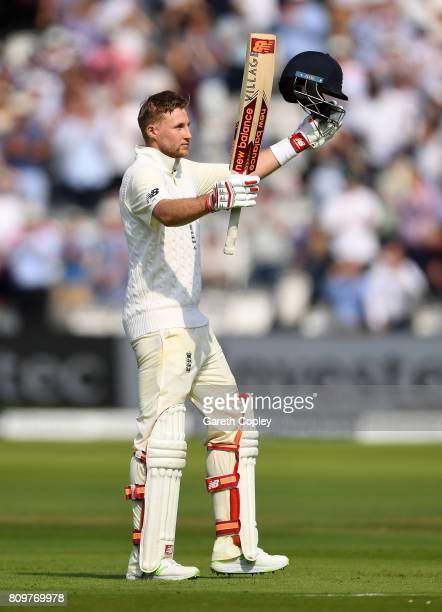 England captain Joe Root celebrates reaching his century during day one of 1st Investec Test match between England and South Africa at Lord's Cricket...