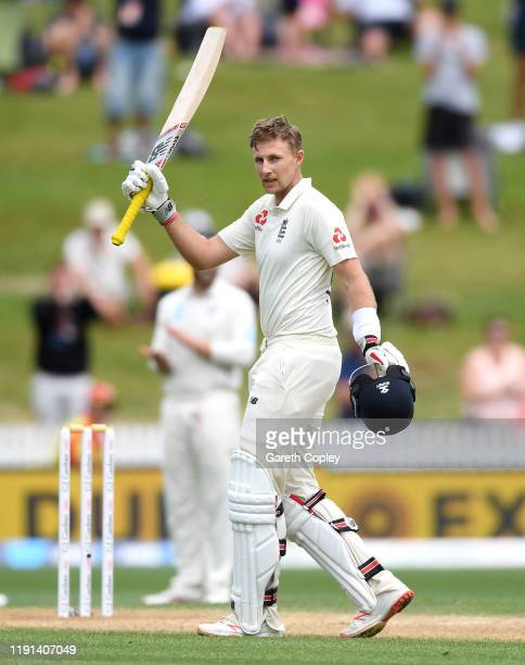 England captain Joe Root celebrates reaching his double century during day 4 of the second Test match between New Zealand and England at Seddon Park...